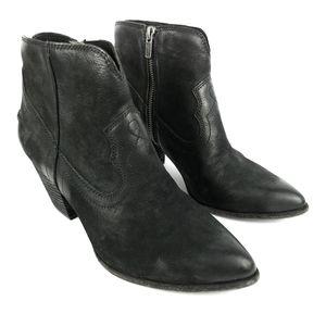 Frye Renee Seam Short Stacked Heel Boot Leather